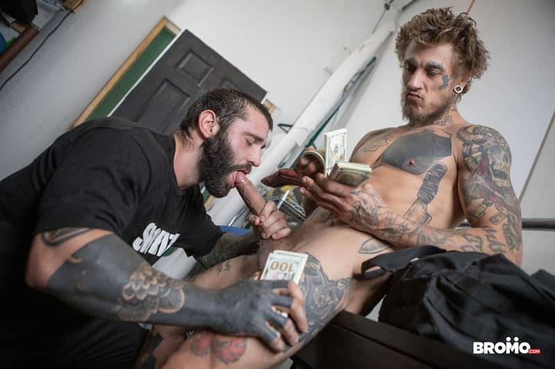 Hot tattooed stud Bo Sinn's huge cock bareback pounds Markus Kage's hot muscular bubble butt