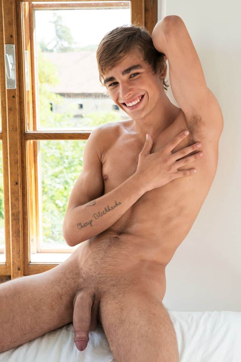 Hottie young European stud Matthieu Corne ripped abs jerks big twink uncut dick 005 gay porn pics - Hottie young European stud Matthieu Corne shows off his ripped abs as he jerks his big twink uncut dick