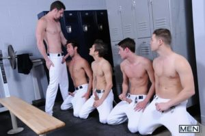 Baseball team lockeroom orgy Johnny Rapid Riley Banks Hunter Page Mike De Marko asses fucked coach Andrew Stark 001 gay porn pics 300x199 - Marco Napoli and Chris Damneds' huge cocks spit roast young stud Isaac X's hot holes