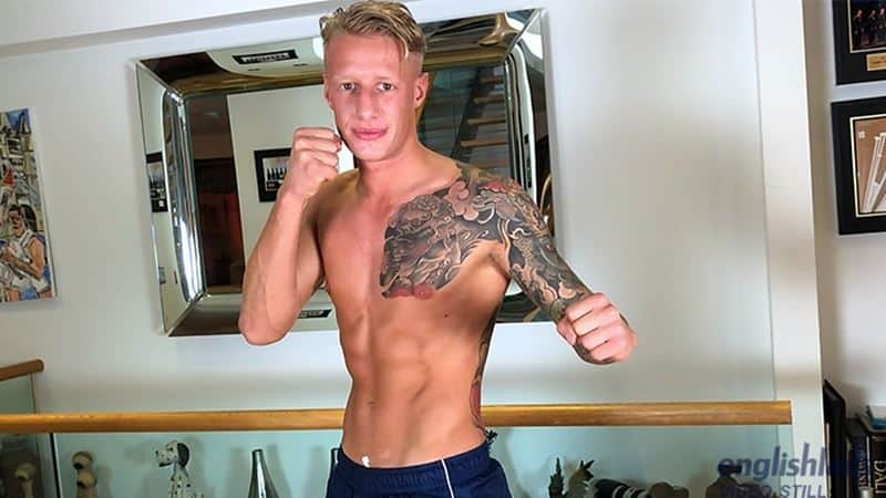 Hot tattooed young muscle stud Jake Campbell strips naked training suit jerking huge uncut dick 029 gay porn pics - Hot tattooed young muscle stud Jake Campbell strips out of his training suit jerking his huge uncut dick