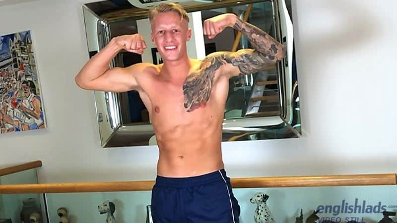 Hot tattooed young muscle stud Jake Campbell strips naked training suit jerking huge uncut dick 031 gay porn pics - Hot tattooed young muscle stud Jake Campbell strips out of his training suit jerking his huge uncut dick