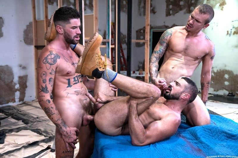 Marco Napoli and Chris Damneds huge cocks spit roast young stud Isaac X hot holes 002 gay porn pics - Marco Napoli and Chris Damneds' huge cocks spit roast young stud Isaac X's hot holes