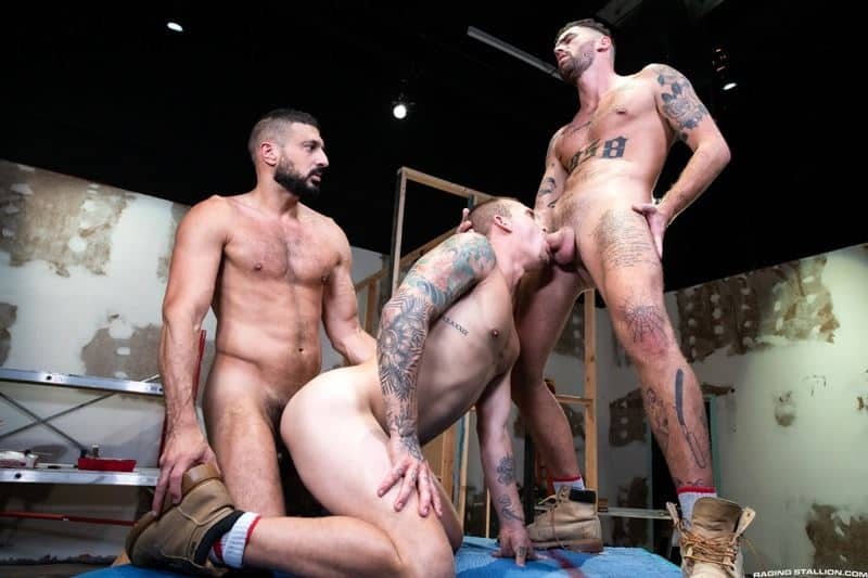 Marco Napoli and Chris Damneds huge cocks spit roast young stud Isaac X hot holes 014 gay porn pics - Marco Napoli and Chris Damneds' huge cocks spit roast young stud Isaac X's hot holes