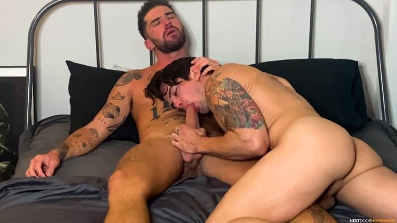 Horny bottom stud Dakota Payne's tight asshole bare fucked by tattooed muscle boy Chris Damned's huge uncut dick