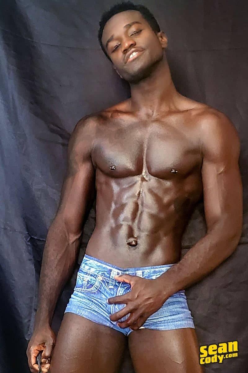 Black muscle dude Sean Cody Max jerks big thick cock massive cum load 002 gay porn pics - Hottie young black muscle dude Sean Cody Max strips naked jerking his huge ebony dick