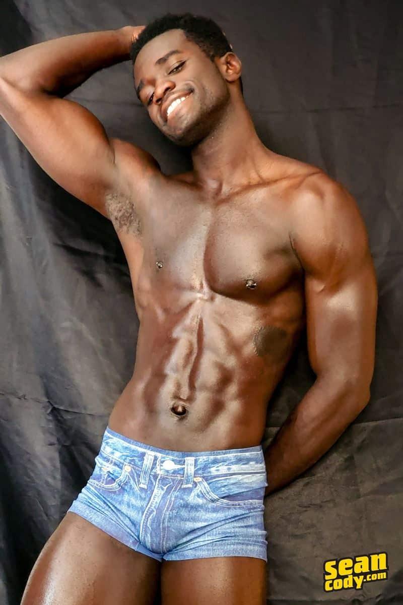 Black muscle dude Sean Cody Max jerks big thick cock massive cum load 008 gay porn pics - Hottie young black muscle dude Sean Cody Max strips naked jerking his huge ebony dick
