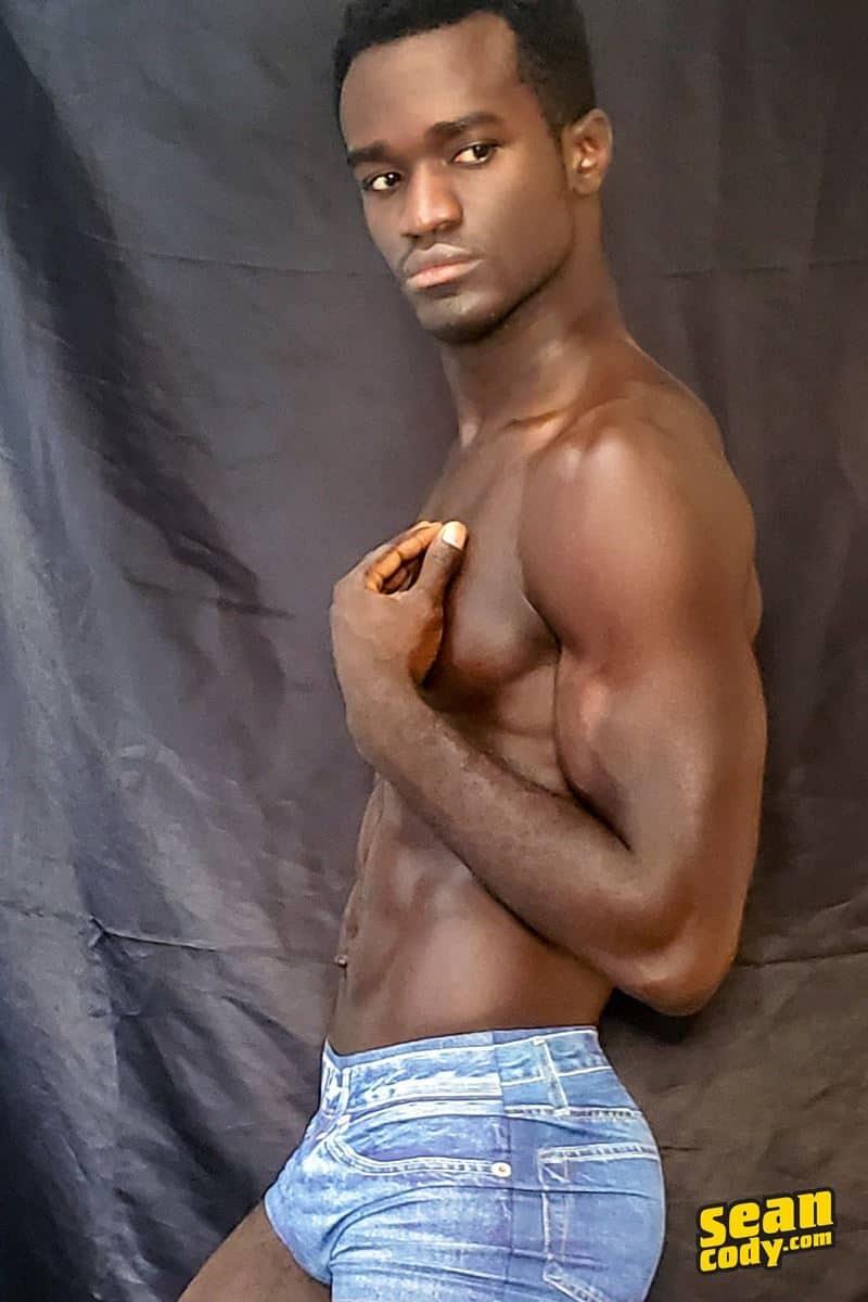 Black muscle dude Sean Cody Max jerks big thick cock massive cum load 009 gay porn pics - Hottie young black muscle dude Sean Cody Max strips naked jerking his huge ebony dick