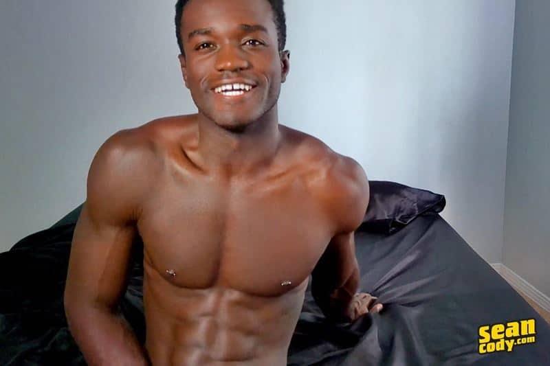 Black muscle dude Sean Cody Max jerks big thick cock massive cum load 011 gay porn pics - Hottie young black muscle dude Sean Cody Max strips naked jerking his huge ebony dick