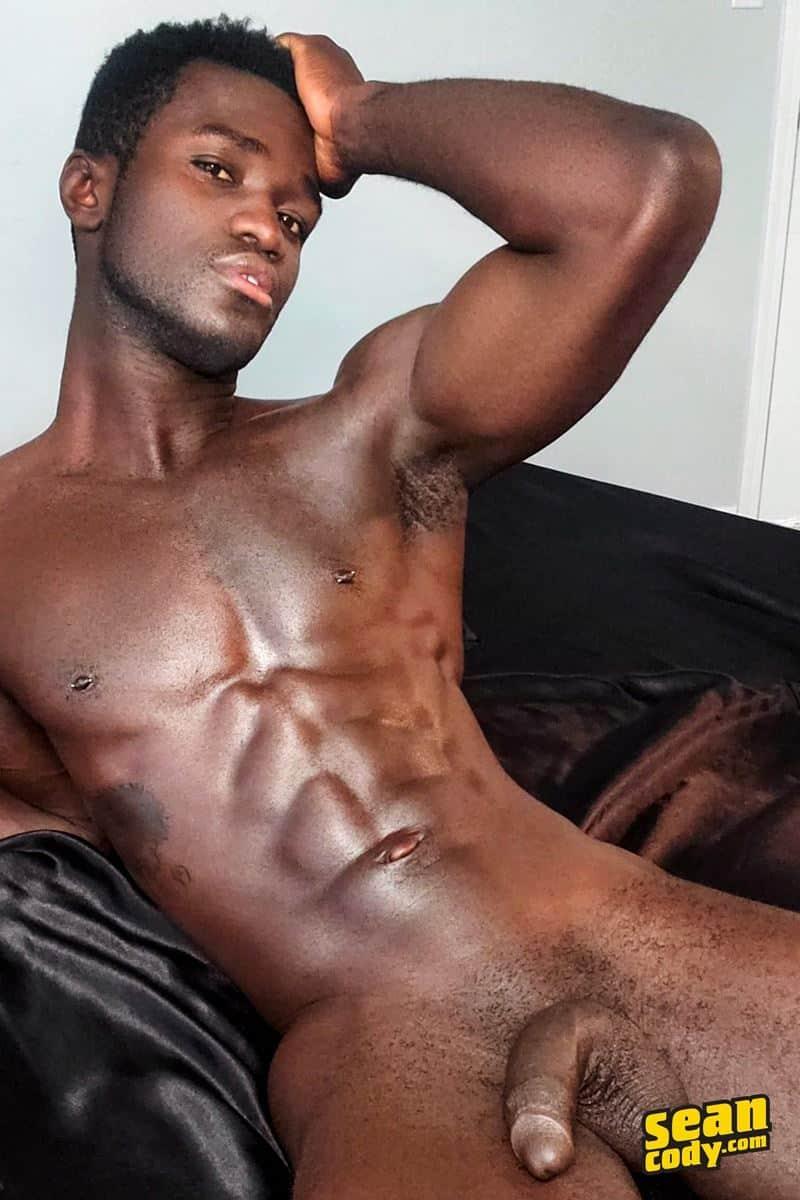 Black muscle dude Sean Cody Max jerks big thick cock massive cum load 012 gay porn pics - Hottie young black muscle dude Sean Cody Max strips naked jerking his huge ebony dick