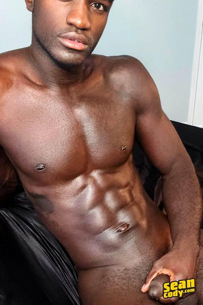 Black muscle dude Sean Cody Max jerks big thick cock massive cum load 013 gay porn pics - Hottie young black muscle dude Sean Cody Max strips naked jerking his huge ebony dick