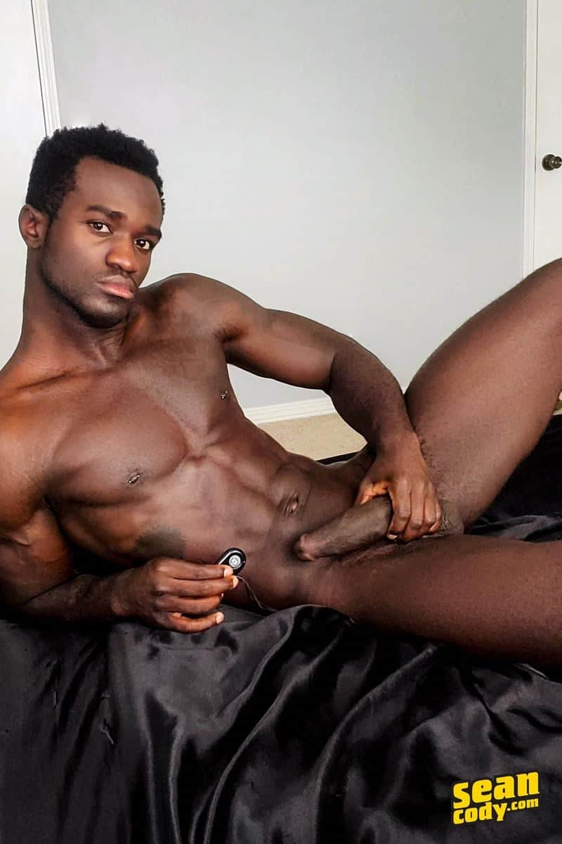 Black muscle dude Sean Cody Max jerks big thick cock massive cum load 014 gay porn pics - Hottie young black muscle dude Sean Cody Max strips naked jerking his huge ebony dick