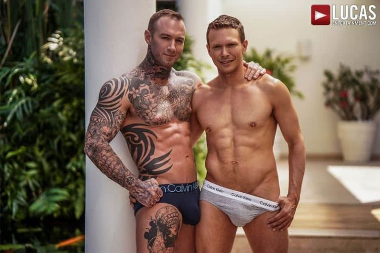 Sexy tattooed muscle hunk Dylan James huge 9 inch cock bare fucks muscled stud Ethan Chase hot hole 001 gay porn pics 768x512 - Sexy tattooed muscle hunk Dylan James's huge 9.5 inch cock bare fucks muscled stud Ethan Chase's hot hole