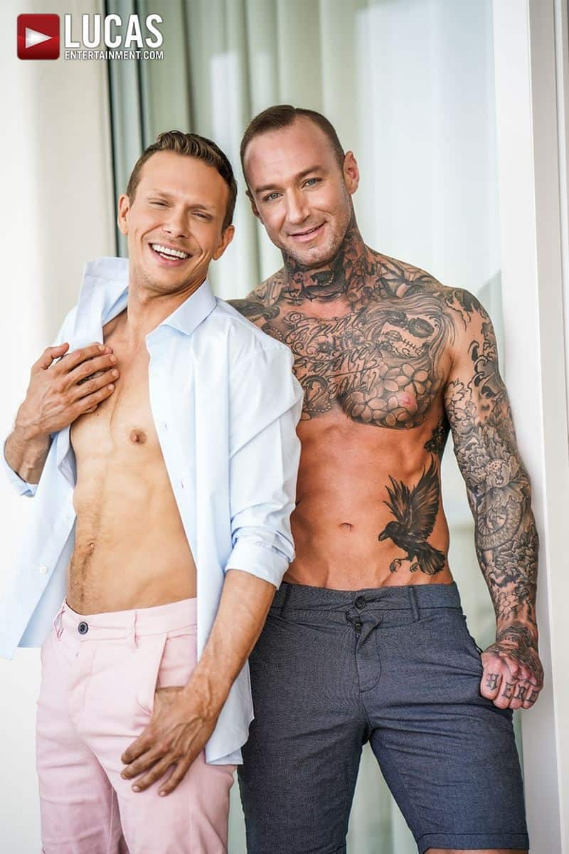 Sexy tattooed muscle hunk Dylan James huge 9 inch cock bare fucks muscled stud Ethan Chase hot hole 003 gay porn pics - Sexy tattooed muscle hunk Dylan James's huge 9.5 inch cock bare fucks muscled stud Ethan Chase's hot hole