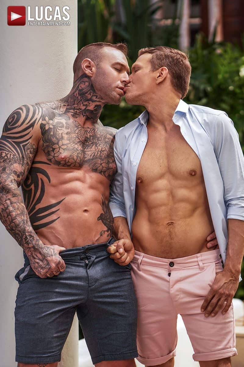 Sexy tattooed muscle hunk Dylan James huge 9 inch cock bare fucks muscled stud Ethan Chase hot hole 005 gay porn pics - Sexy tattooed muscle hunk Dylan James's huge 9.5 inch cock bare fucks muscled stud Ethan Chase's hot hole
