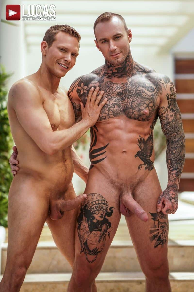 Sexy tattooed muscle hunk Dylan James huge 9 inch cock bare fucks muscled stud Ethan Chase hot hole 006 gay porn pics - Sexy tattooed muscle hunk Dylan James's huge 9.5 inch cock bare fucks muscled stud Ethan Chase's hot hole