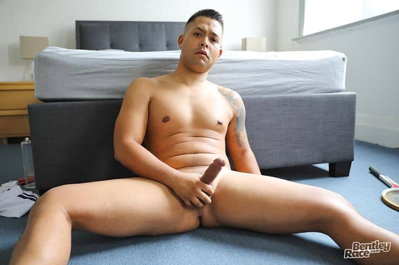 Bentley Race hot young muscle dude Sam Sivahn strips out of his sports socks and underwear stroking his huge thick uncut dick