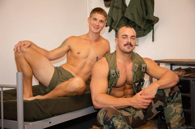 Beefy muscled army dude Alex James's huge bare dick raw fucking Brandon Anderson's tight boy ass